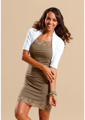 taupe,Kleid m. Spitze